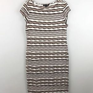Sharagano Sheath Dress 12 Striped Stretch Boat Nec